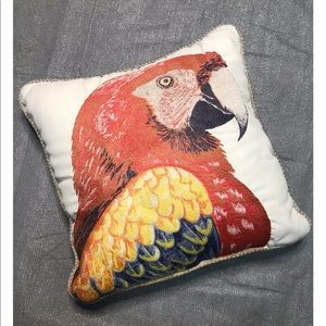 Pier 1 Imports Pillow Embroidered Red Yellow Macaw